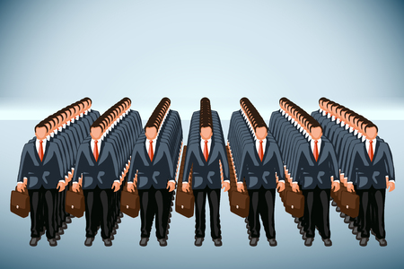 clone: business clone team on blue background Illustration