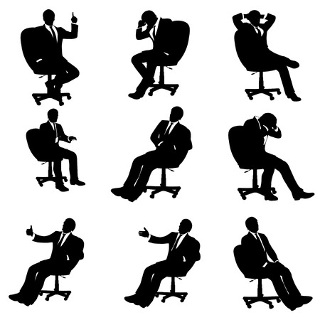 set of different illustrations of sitting businessman Vectores