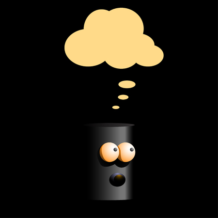 character traits: cartoon illustration of thinking black robot in the dark with yellow cloud