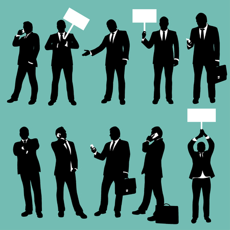 show case: illustration of first set of businessmen in different situations