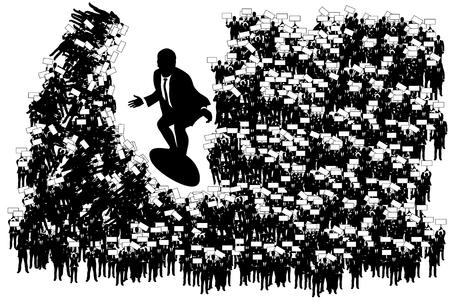 employe: illustration of businessman surfing by crowd of mini businessman