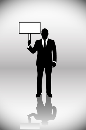 employe: illustration  of businessman standing with clear label