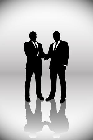 handshaking: illstration of businessmen handshaking on grey background Illustration