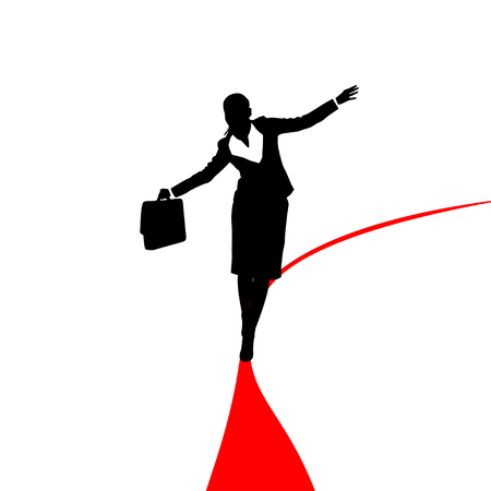 red line: silhouette of businesswoman with case walking on red line Illustration