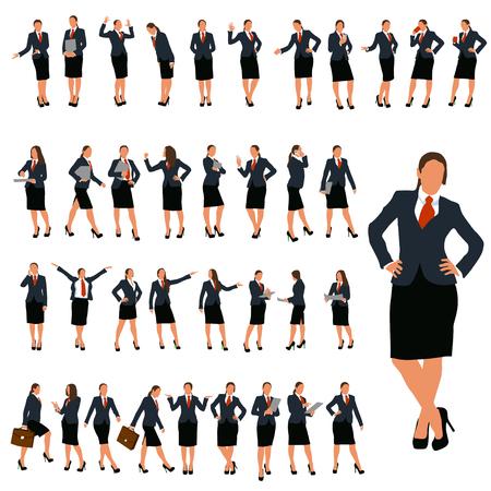 conjunto de mujer de negocios en diferentes poses en el color