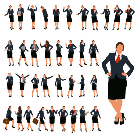 teamwork business: set of business woman in different poses in color