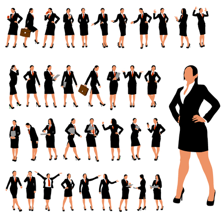 business group: set of businesswoman in different poses in color Illustration