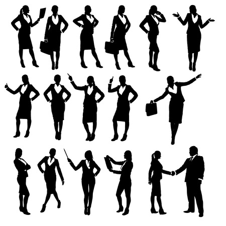 listeners: set of silhouettes of businesswoman in different poses Illustration