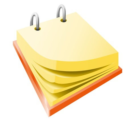 yellow pages: cartoon illustraion of red calendar laying with yellow pages