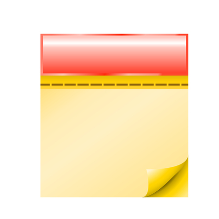 yellow pages: cartoon illustraion of red calendar with yellow pages view front