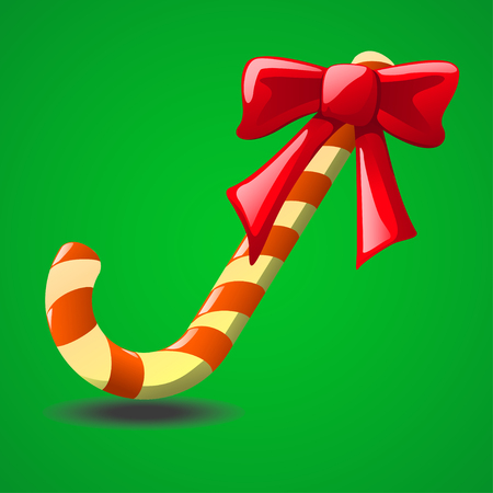illustraion: cartoon illustraion of christmas candy with red bow