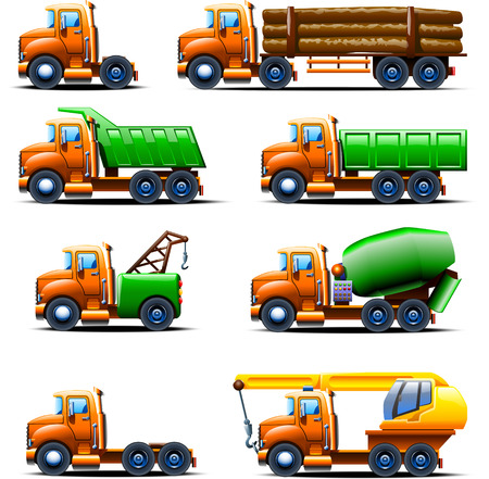 concrete mixer truck: illustration of different types of old fashioned trucks in one style Illustration