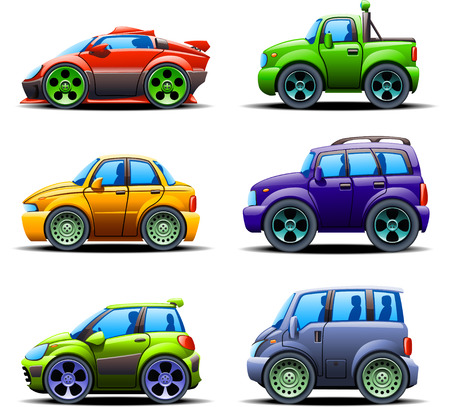 motor de carro: ilustración de seis tipos diferentes de coches vista lateral izquierda