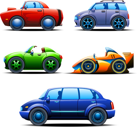 from side: illustration of five different types of automobiles view left side Illustration