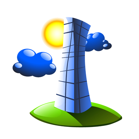 clouds scape: illustration of business building on grass with sun and clouds. on white background Illustration