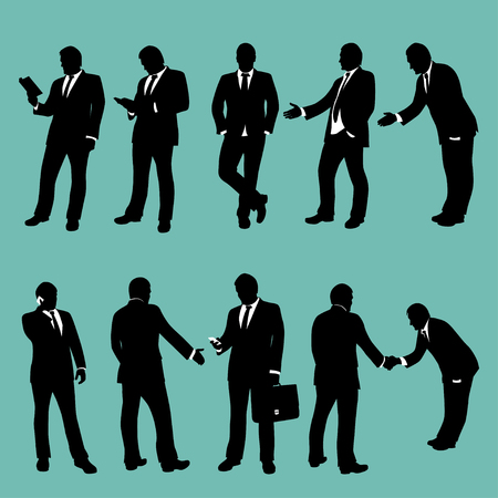 situations: illustration of businessmen set in different situations