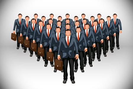 ejército de clones bisuness con casos sobre fondo gris