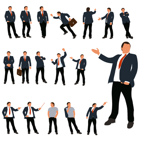set of businessman in different poses in color isolated 矢量图像
