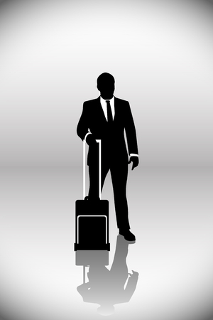 businessman standing: illustration  of businessman standing with suitcase