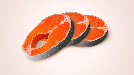 fillet: illustration of some group red fidh pieces lying on light background Illustration
