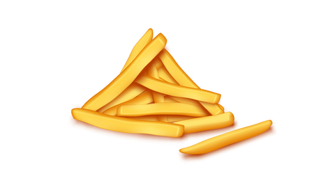illustration of french fries lying in the group on white background