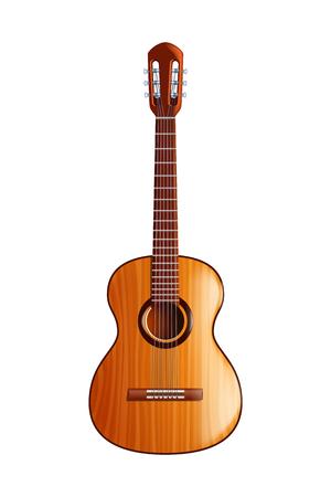 illustratie van klassieke houten gitaar met vooraanzicht op een witte achtergrond