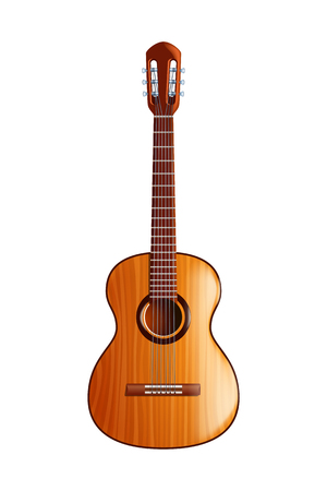 illustration of classic wooden guitar with front view on white background