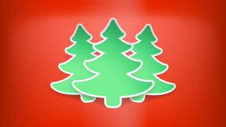 few: illustration of few green christmas trees on red color background