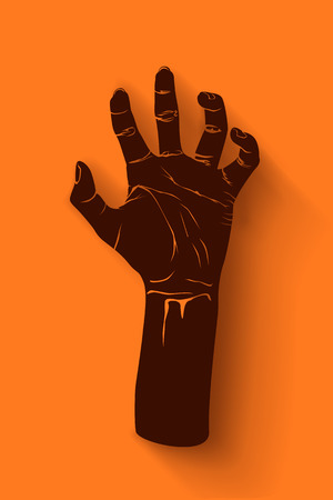 classic monster: illustration of brown zombie hand on orange background Illustration