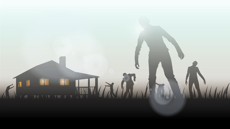 illustration of zombie atack to the house at sunset