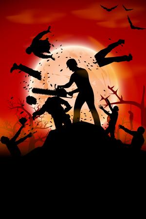 illustration d'un homme qui se bat avec la foule de zombies avec tronçonneuse Vecteurs
