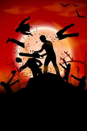 chain saw: illustration of a man fighting with crowd of zombies with chain saw