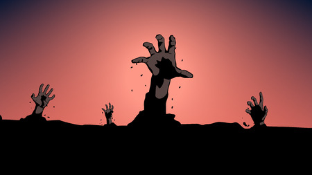 illustration of hands from the ground at night