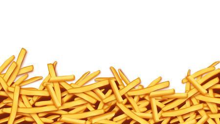 large group of objects: illustration of a lot of french fries on white background Illustration