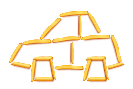 frites: illustration of car silhouette maded from french fries on white Illustration