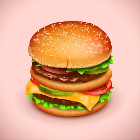 tasty: illustration of tasty fresh big hamburger on pink background