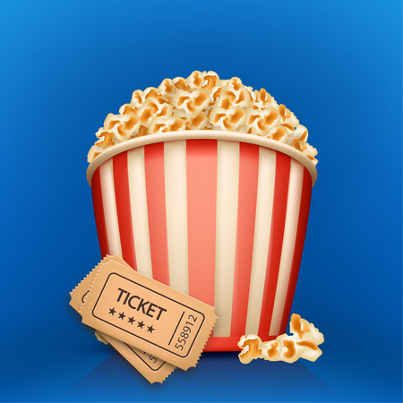 popcorn bowls: illustration of full popcorn cup with movie tickets on blue background
