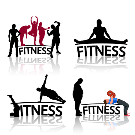 simbolo uomo donna: illustration of set of fitness silhouette icons with reflection on white background
