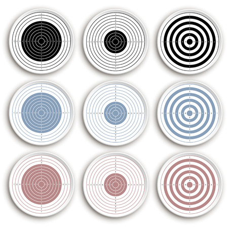 targets: illustration of set of different targets on white background with reflection