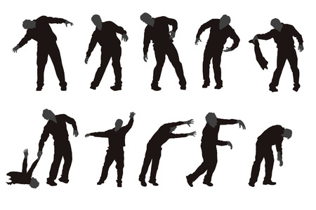 illustration of set of different zombie silhouettes isolated Çizim