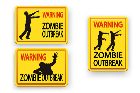 surviving: illustration of set of three different signs with zombie warning on white with shadow
