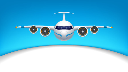 airbus: illustration of flying airplane in the blue sky with white color half