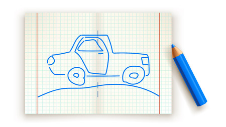 drawed: illustration of drawed car on paper list with blue color pencil Illustration