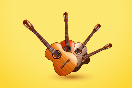 frets: illustration of group of classic wooden guitars on yellow background