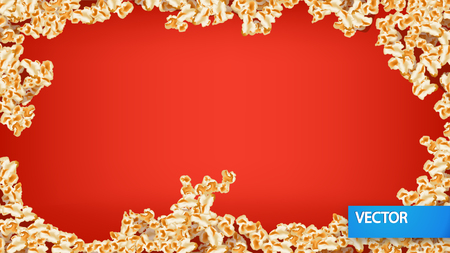 popcorn bowls: illustration of popcorn lying on red color background around
