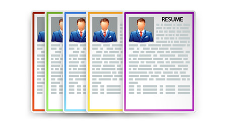 resumes: Illustration of set of different color resumes with transparent shadows Illustration