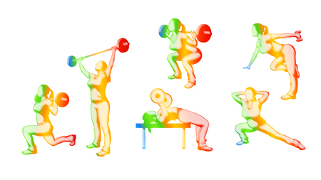 working out: illustration of set of different color woman silhouette working out