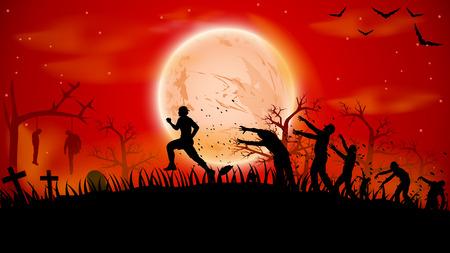 illustration de l'homme ruuning hors de zombies foule proches de cimetière Vecteurs