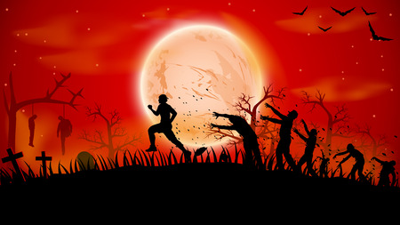 halloween tree: illustration of man ruuning out from crowd zombies near cemetery Illustration