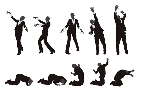 illustration of set of different zombie silhouettes isolated Illustration